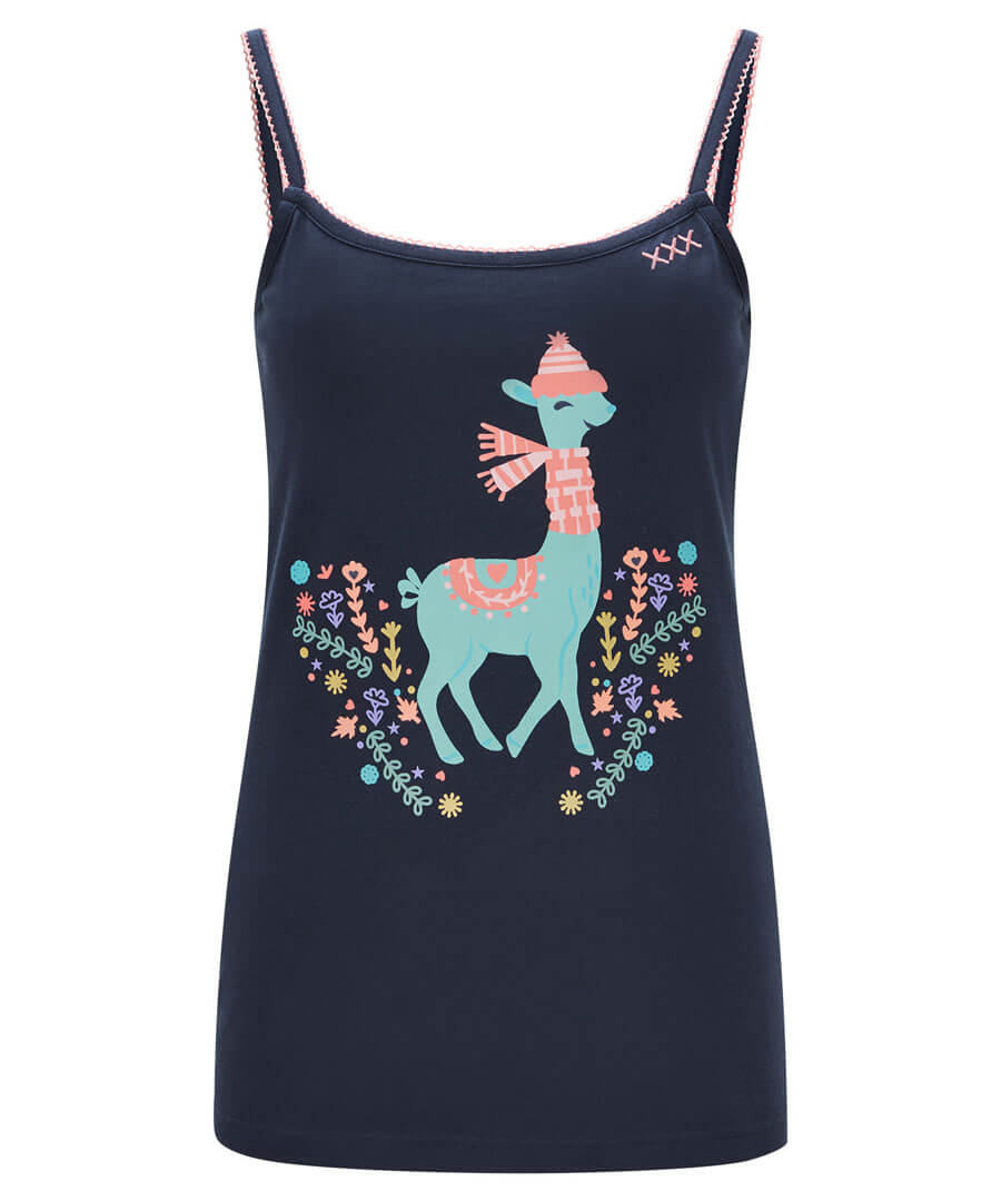 Loopy Llama Pyjama Vest Top Model Front