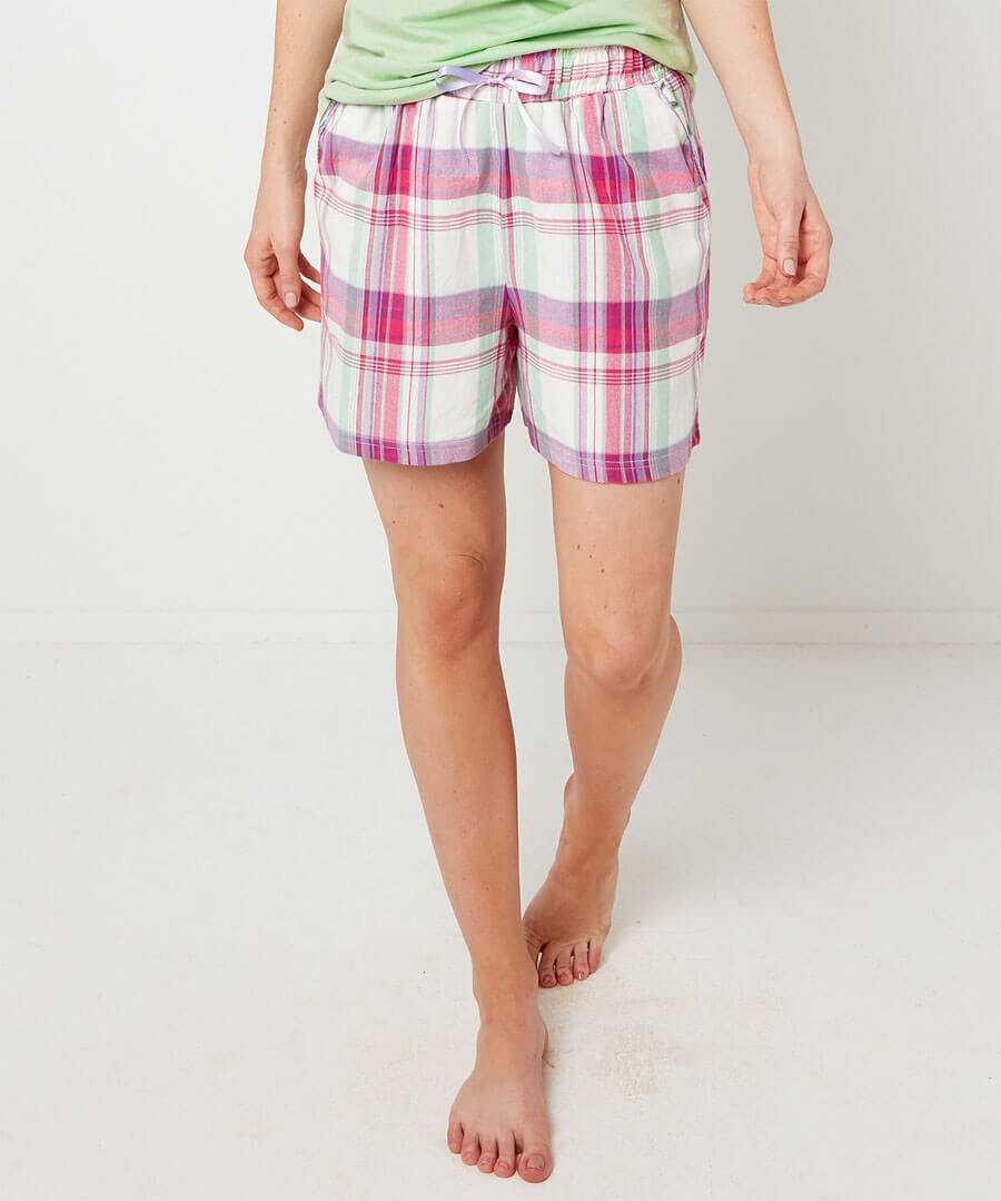 Mix And Match Check Pyjama Shorts Model Front
