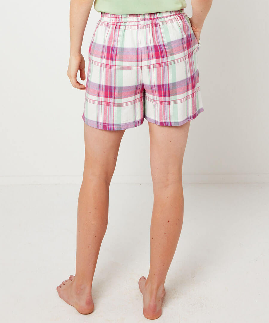Mix And Match Check Pyjama Shorts Model Back