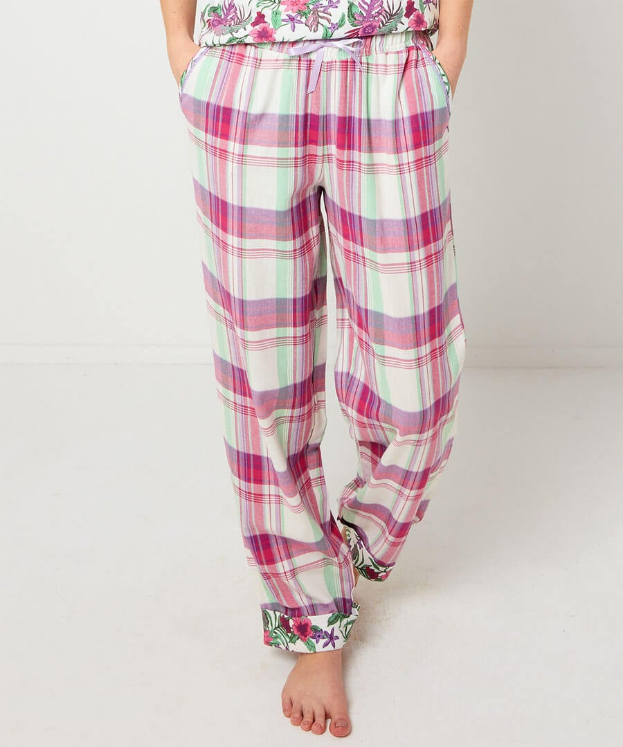 Mix And Match Check Pyjama Bottoms Model Front