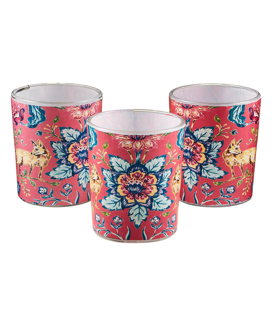 Pack Of 3 Floral Tealight Holders