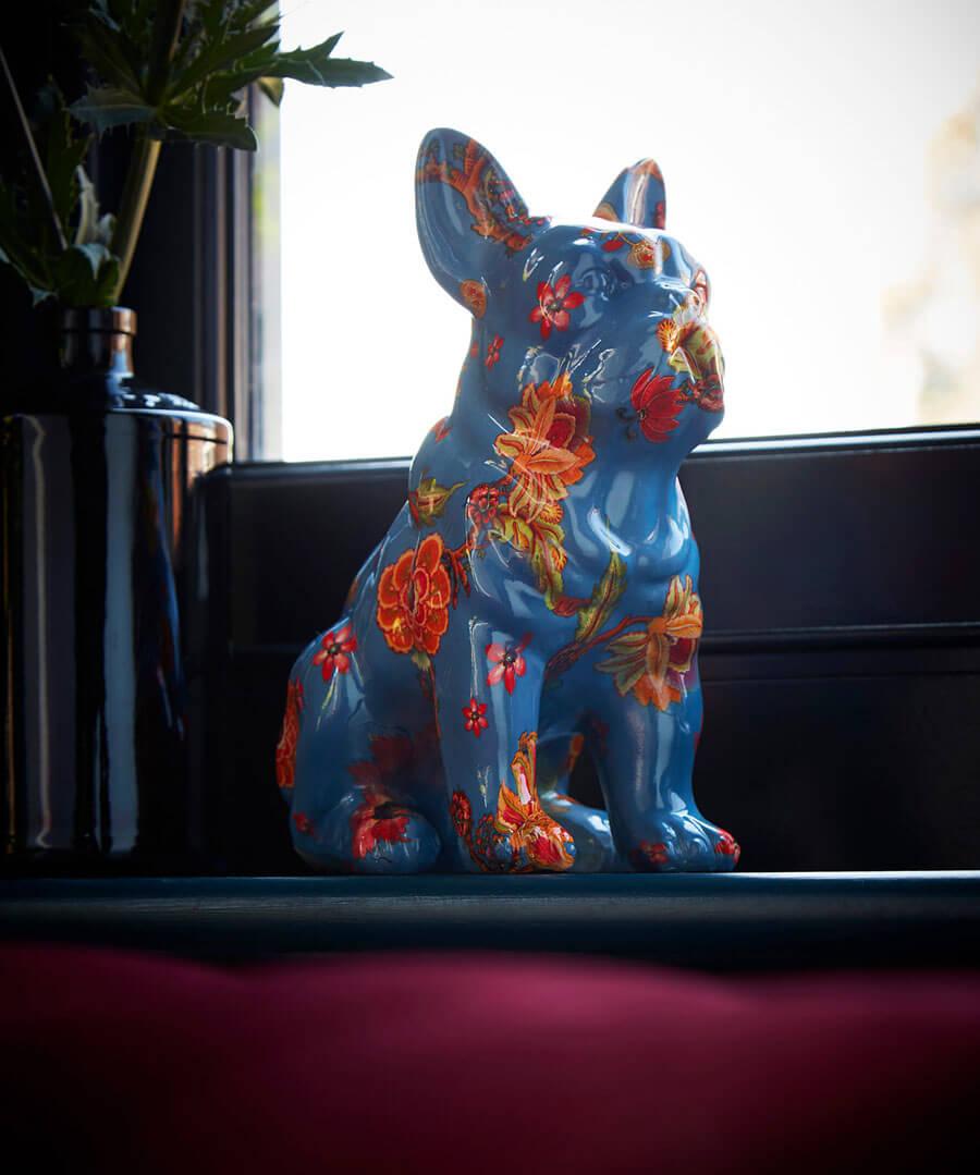 Eccentric Floral Bulldog Model Back