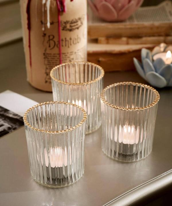 Set Of 3 Blossom Tealight Holders