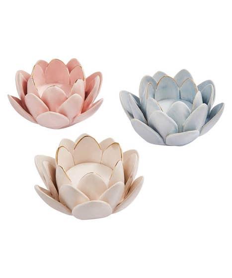 Set Of 3 Blossom Flower Tealights