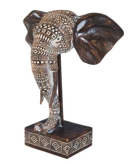 African Elephant Head Bust