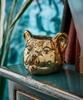 Gold 3D Wax Filled Leopard Candle Pot
