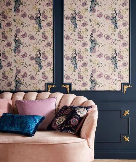 Fabulous Floral Peacock Wallpaper