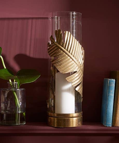 Glorious Gold Leaf Hurricane Candle Holder