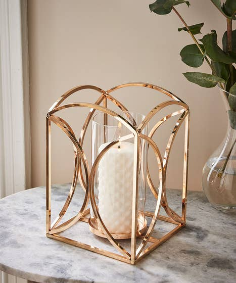 Gold Deco Hurricane Candle Holder