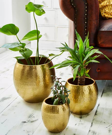 Set Of 3 Statement Gold Hammered Planters