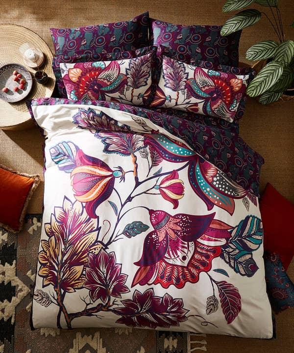 Floral Elephant Reverse Duvet Cover Set