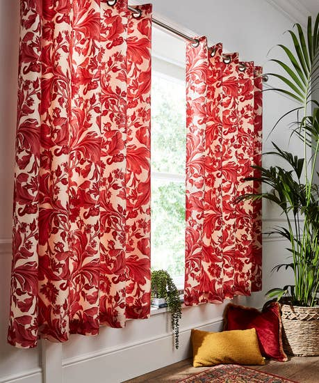 Red Baroque Floral Curtains