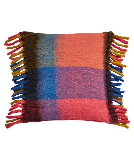 Cosy Faux Mohair Check Cushion