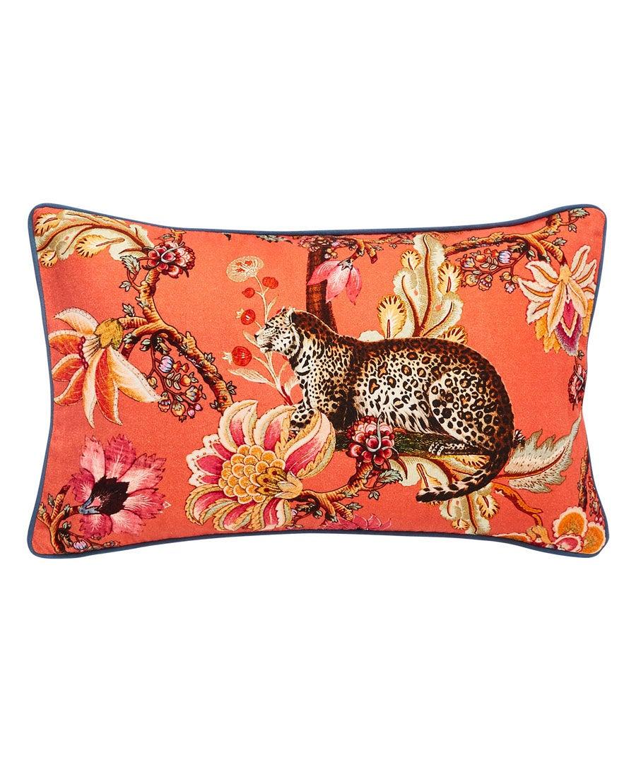 Vibrant Floral Leopard Cushion