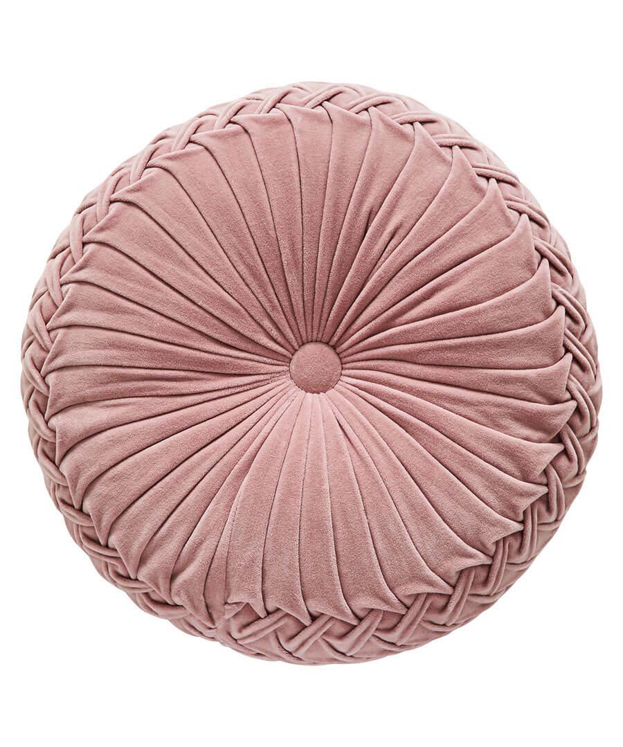 French Blossom Velvet Circular Cushion Model Front