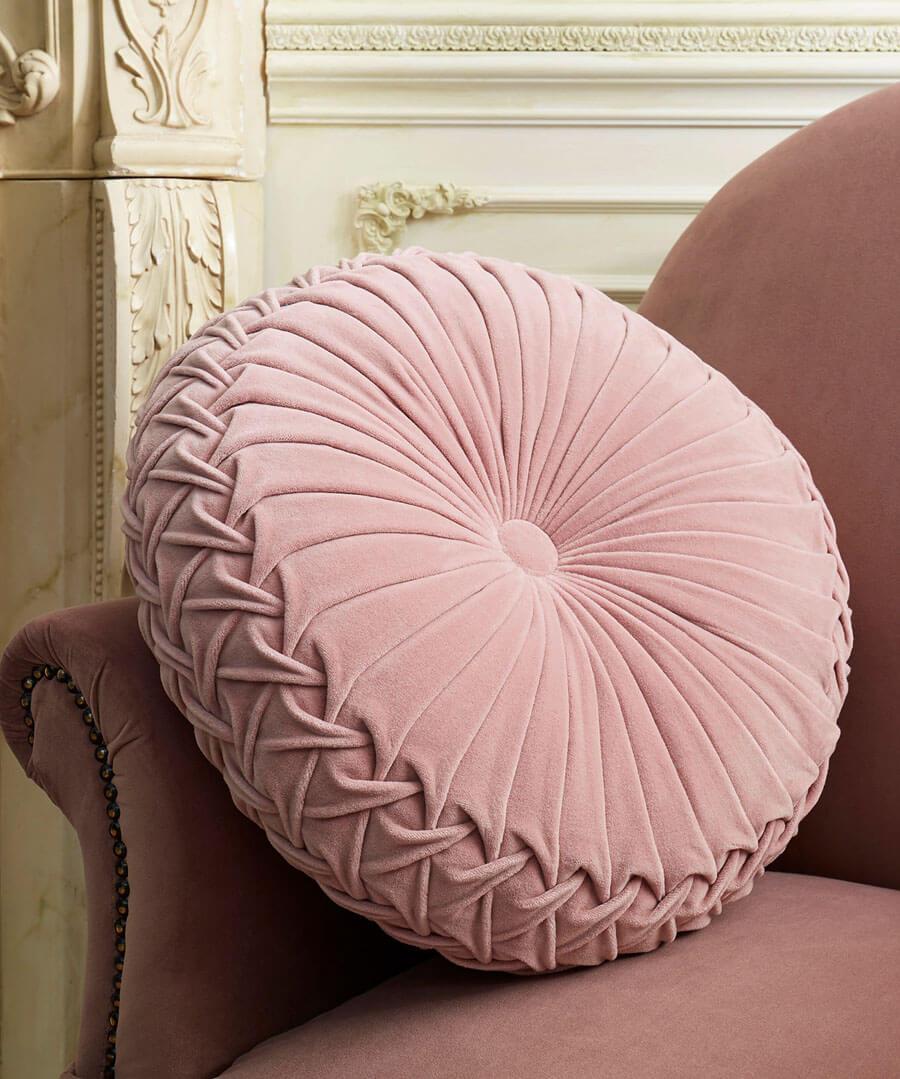 French Blossom Velvet Circular Cushion Model Back