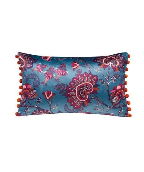African Floral Pom Pom Cushion