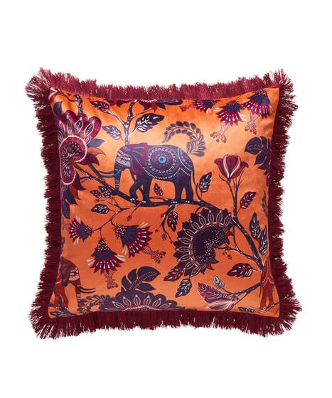 African Elephant Fringe Cushion