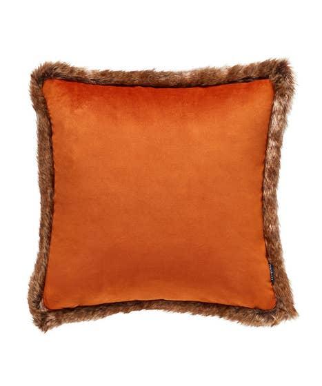 Faux Fur Trim Velvet Cushion