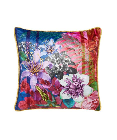 Floral Tassel Trim Cushion