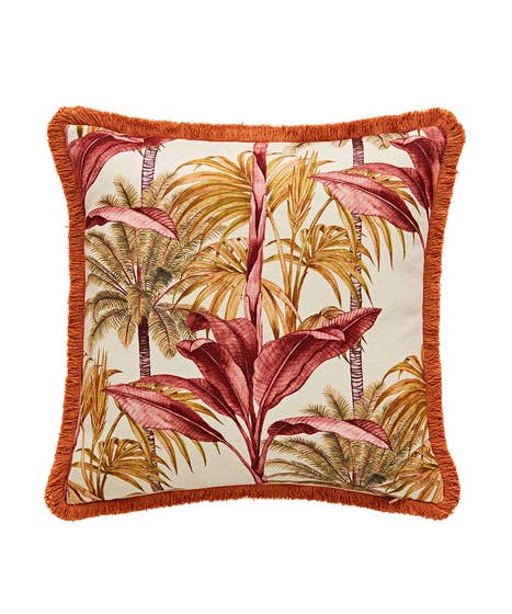Truly Tropical Reversible Fringe Cushion