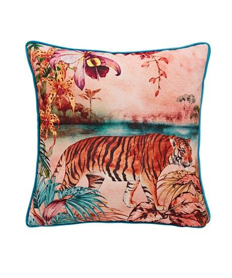 Terrific Tiger Floral Reversible Cushion