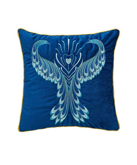 Magnificent Peacock Embroidered Cushion