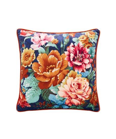Floral Stripe Reversible Cushion