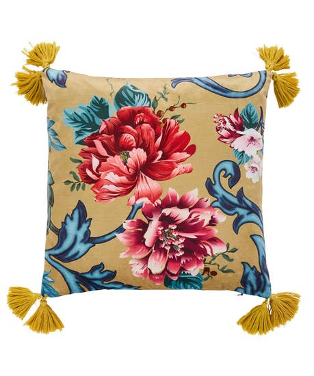 Large Floral Tassel Cushion