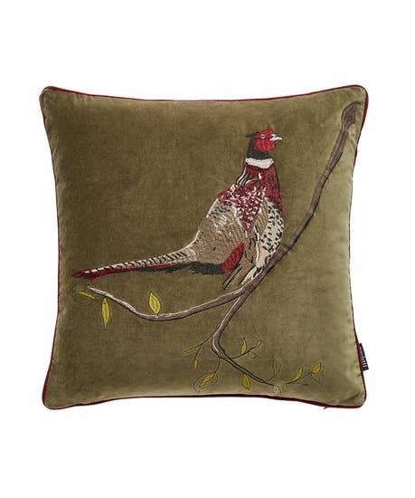 Embroidered Pheasant Cushion