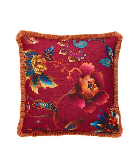 Statement Floral Reversible Fringed Cushion