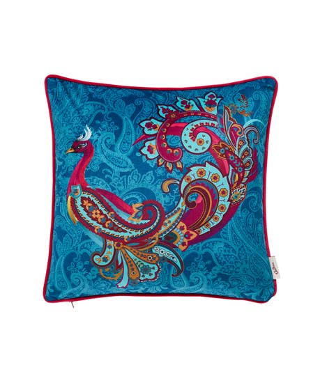 Peacock Placement Reversible Cushion