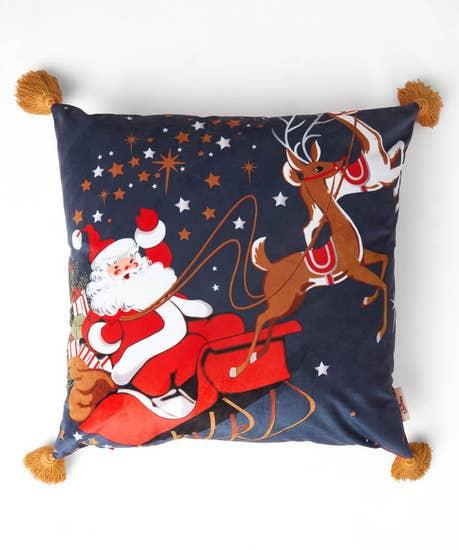 Santa Scene Fringed Cushion