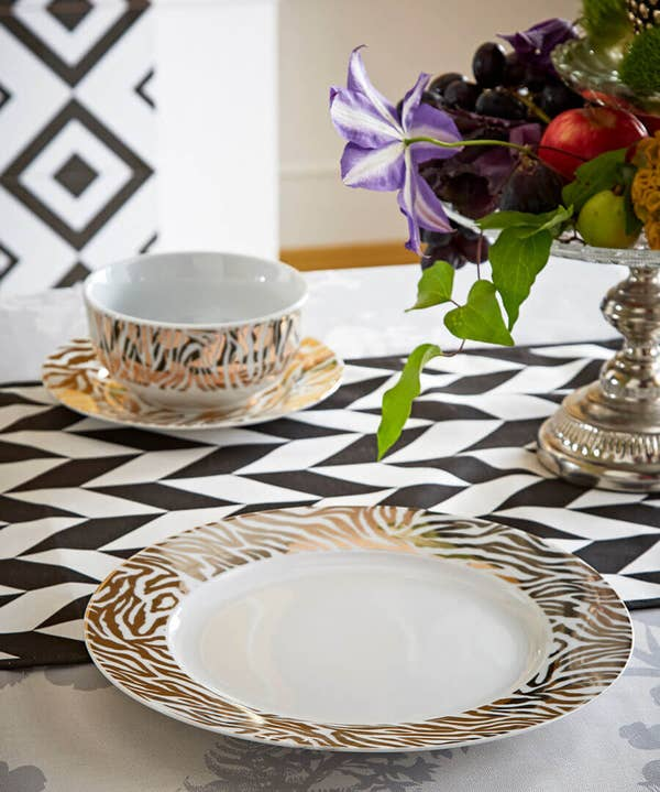 Set Of 4 Gold Metallic Zebra Dinner Plates