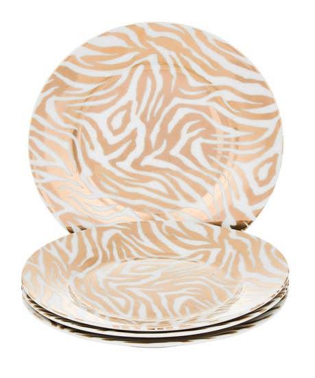 Set Of 4 Gold Metallic Zebra Side Plates