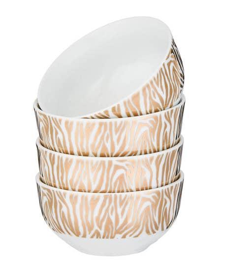 Set Of 4 Gold Metallic Zebra Bowls
