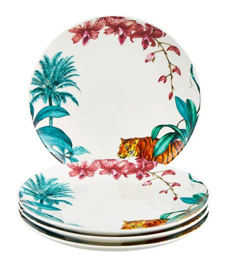 Truly Tropical Set Of 4 Dinner Plates