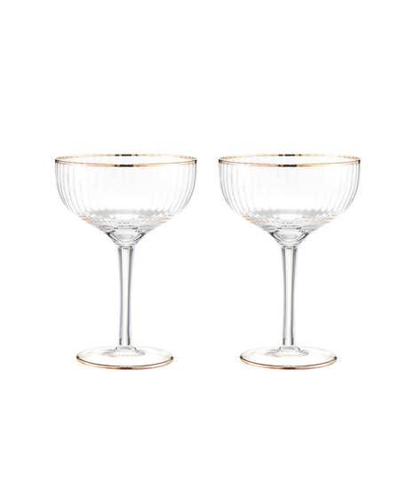 Set Of 2 Deco Champagne Glasses