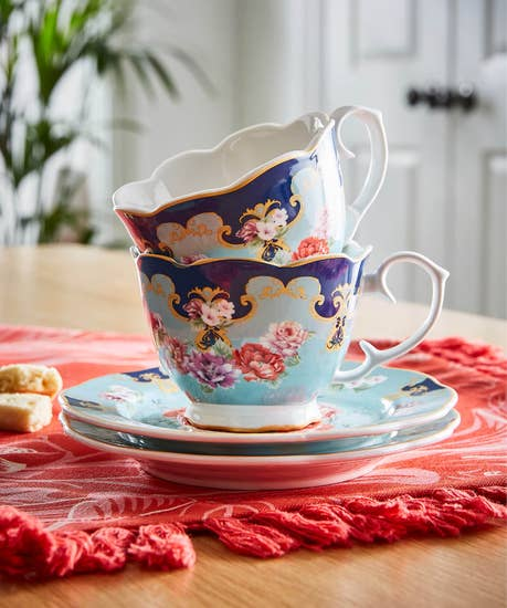 Set Of 2 Floral Teacups And Saucers