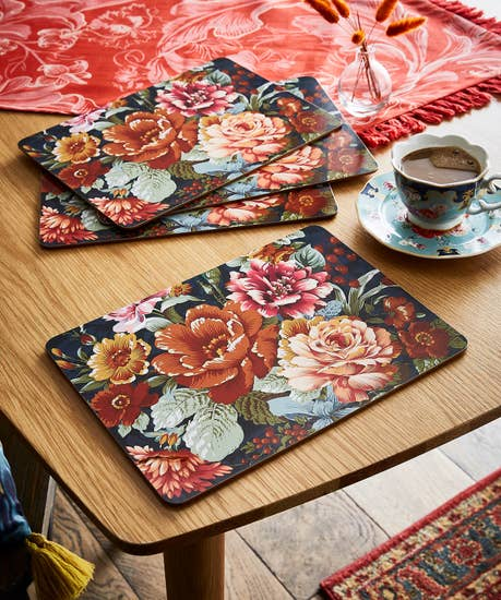 Set Of 4 Statement Floral Placemats
