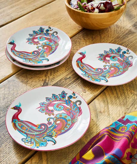 Set Of 4 Perfect Peacock Side Plates
