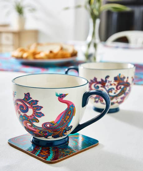 Set Of 2 Perfect Peacock Footed Mugs