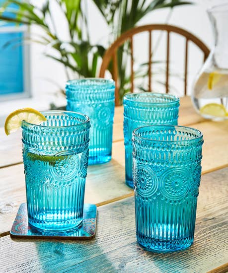 Set Of 4 Terrific Turquoise Glasses