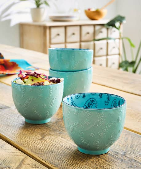 Set Of 4 Paisley Snack Bowls