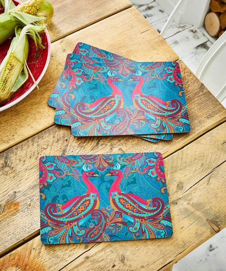 Set Of 4 Paisley Peacock Placements