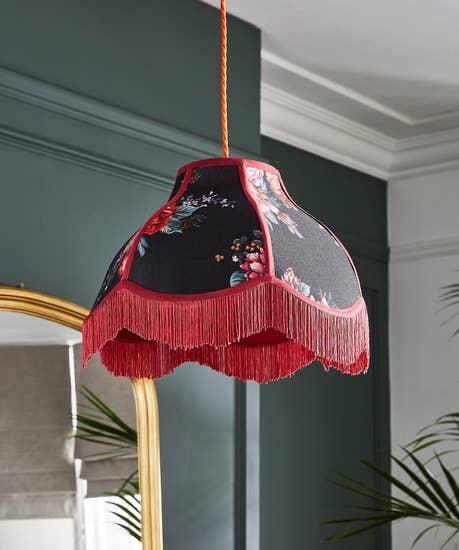 Fabulously Fringed Floral Lampshade