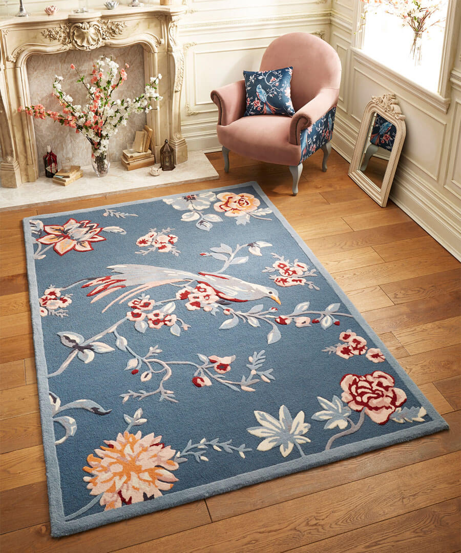Tufted French Blossom Bird Rug (Small)