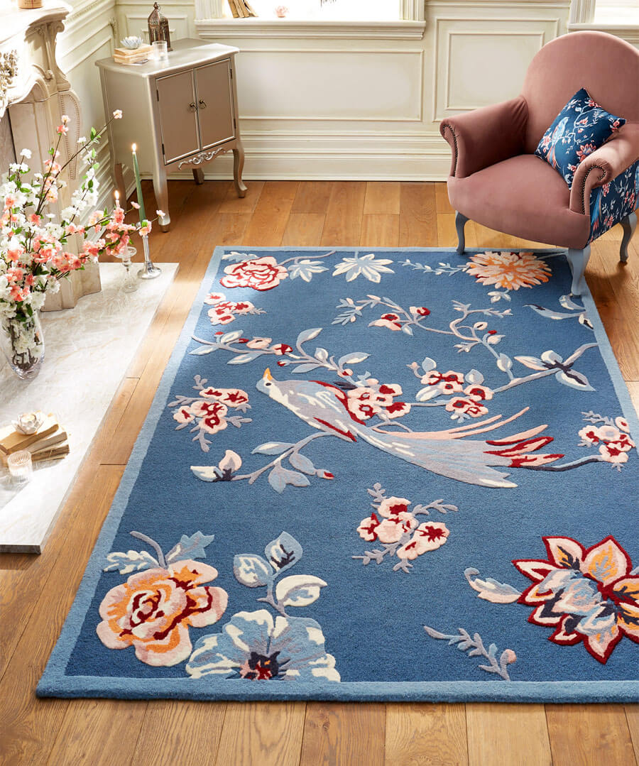 Tufted French Blossom Bird Rug (Small) Model Back