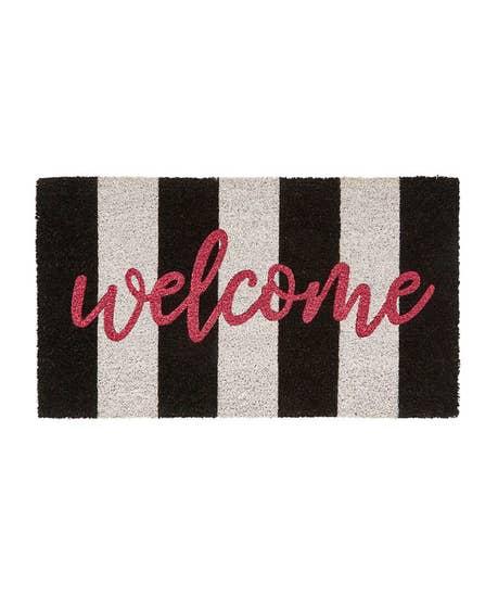 Welcome Mono Stripe Doormat