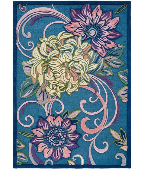 Fabulous Floral 100% Wool Tufted Rug